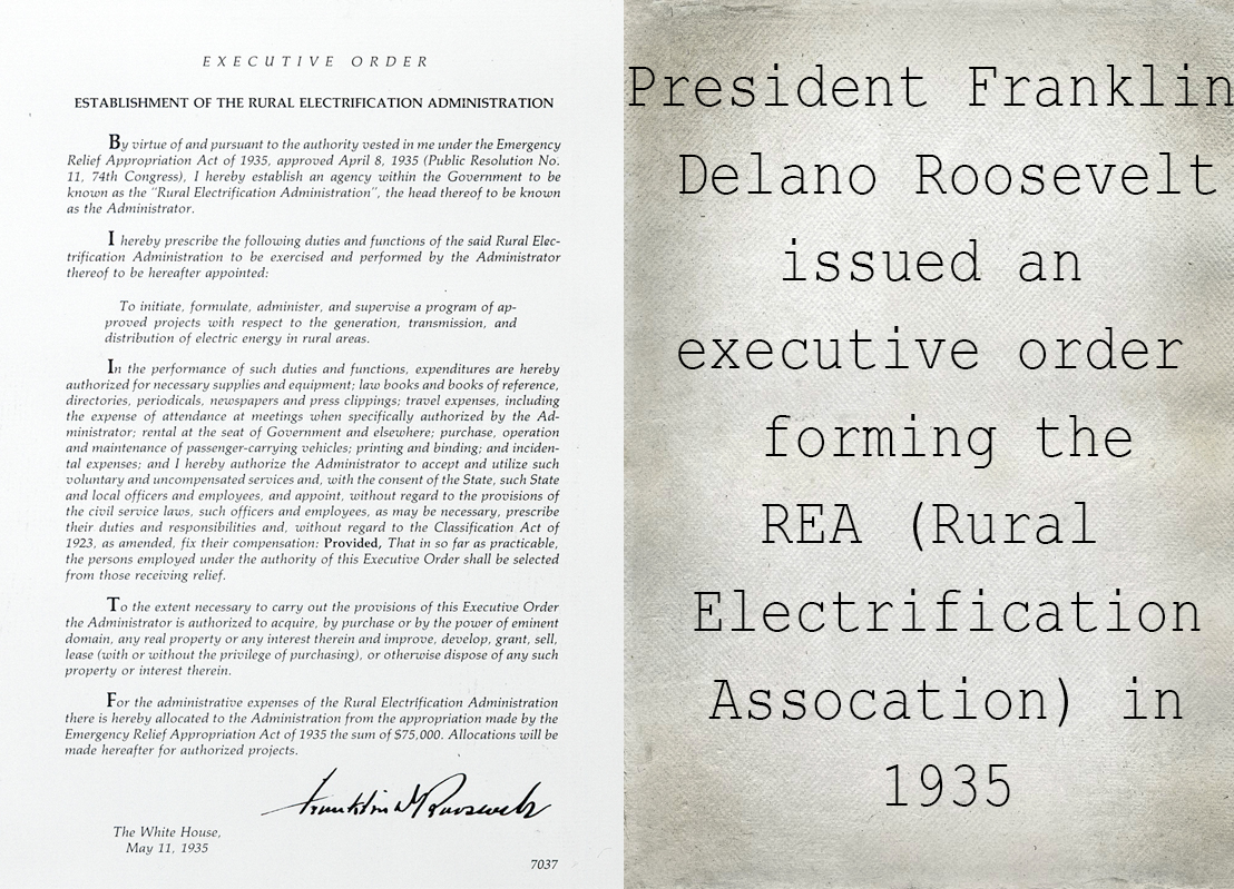 FDR's Executive Order funding the Rural Electric Administration