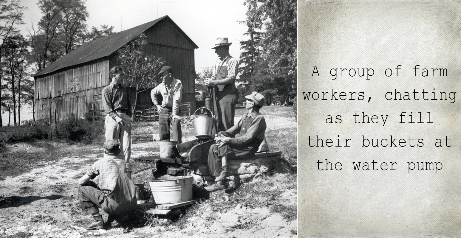 Farm workers with buckets