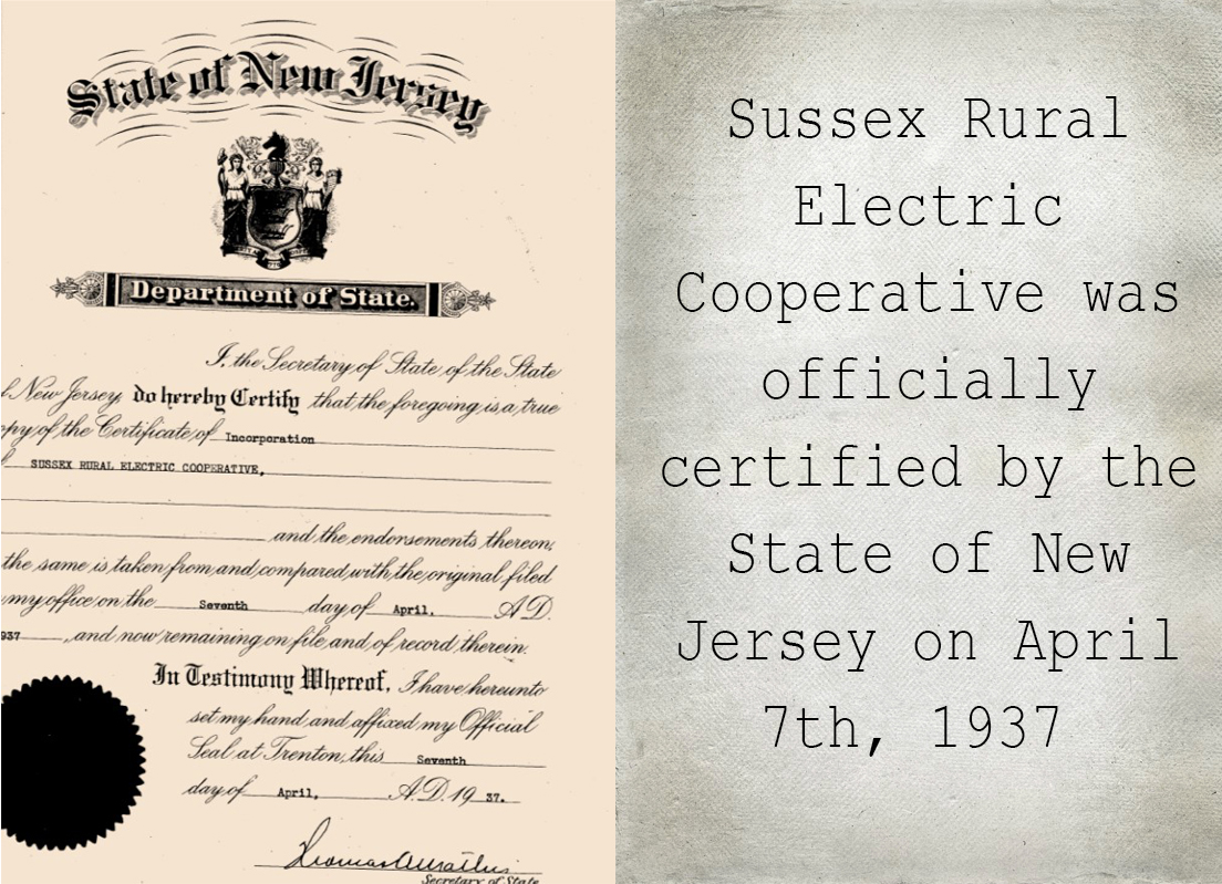Sussex Rural Electric Cooperative Certification, 1937
