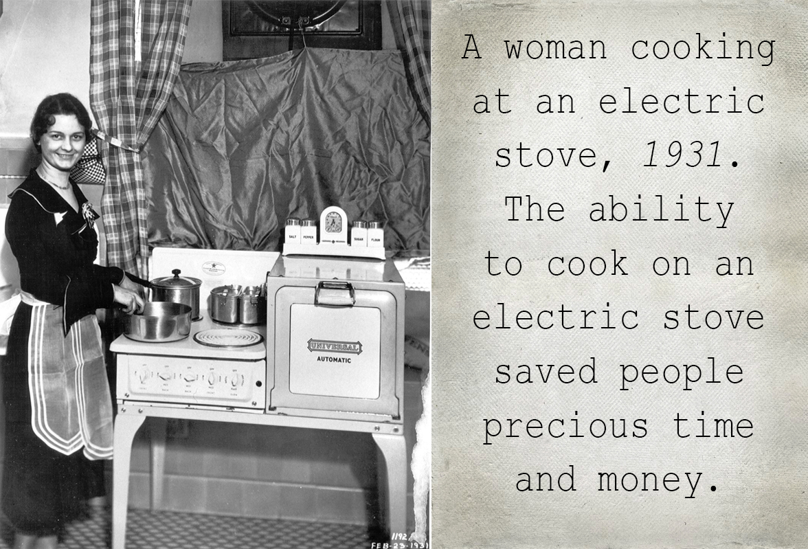 A woman cooking on an electric stove