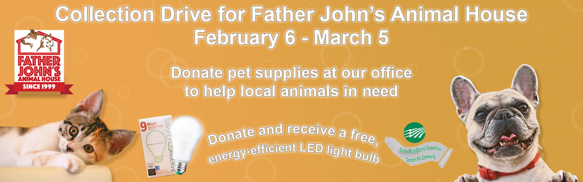 Donate to our drive to support Father John's Animal House in Lafayette