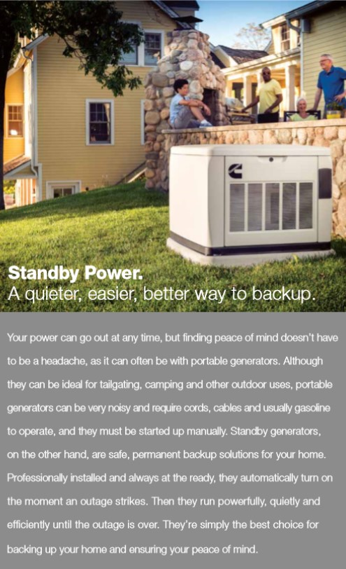 Cummins Standy Generators blurb